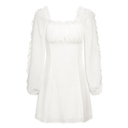 White ruffle long sleeve dress