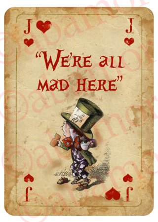 ALICE IN WONDERLAND Giant Vintage Playing Card A4 Tea Party Prop MAD HATTER | eBay