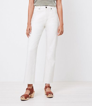 The High Waist Straight Crop Jean in Natural White