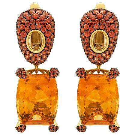 Mousson Atelier Citrine 16.74 Carat Orange Sapphires 18 Karat Yellow Gold Earrings