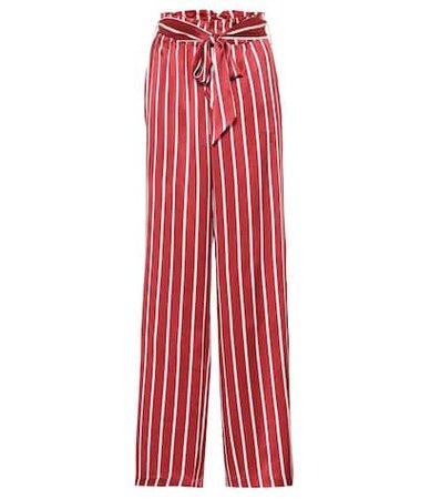 Striped wide-leg silk pajama pants