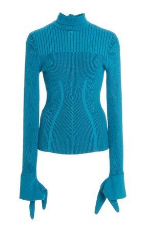 Plaited Ribbed Knit Turtleneck By Carolina Herrera   Moda Operandi