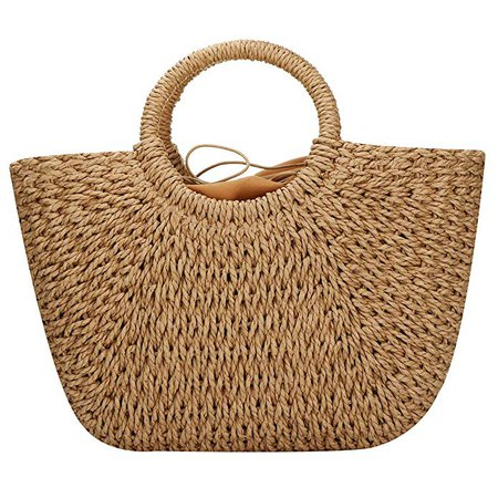 Amazon.com: EROUGE Natural Chic Straw Bag Hand Woven Round Handle Handbags Retro Summer Beach Bag Brown: Gateway