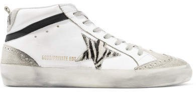 Mid Star Distressed Leather, Suede And Zebra-print Pony Hair Sneakers - White