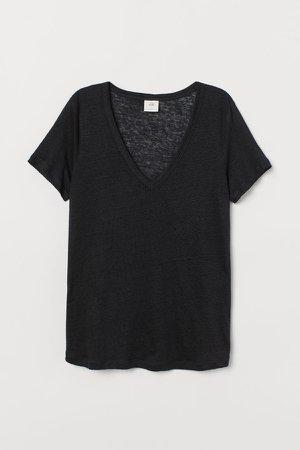Linen Jersey Top - Black
