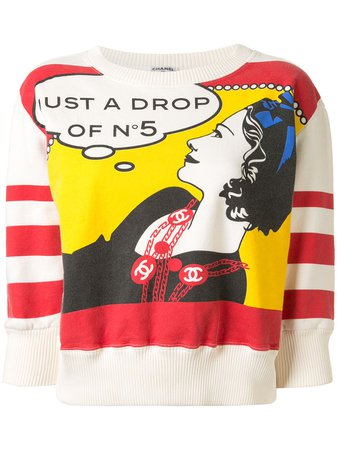 Chanel Pre-Owned Cropped Comic Sweatshirt Vintage | Farfetch.Com