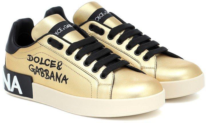 Portofino metallic leather sneakers