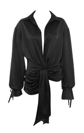 Clothing : Tops : 'Payton' Black Satin Drape Shirt