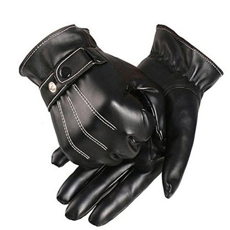 DressLily.com: Photo Gallery - Men Winter Male PU Leather Short Thick Gloves Car Driving Mittens