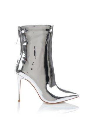 'Mercury' Silver Mirror Ankle Boots - Mistress Rocks