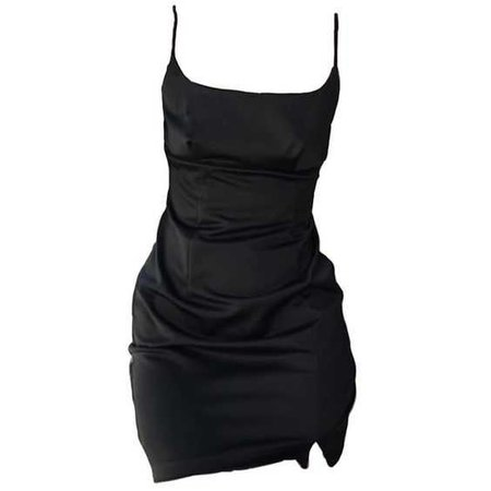 black bodycon silk dress