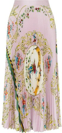 Printed Pleated Satin Midi Skirt - Pastel pink