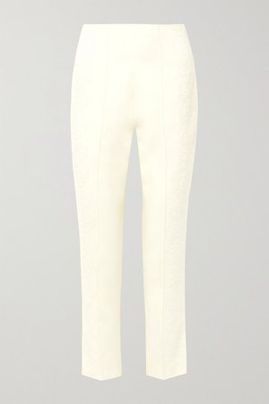 Chantilly Lace-trimmed Silk And Wool-blend Tapered Pants - Ivory