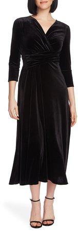 Faux Wrap Velvet Dress