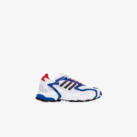 white, blue and red Torsion TRDC sneakers