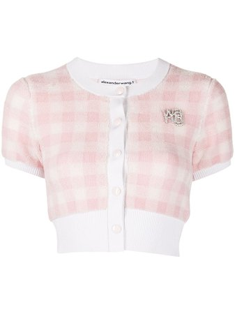 Shop pink & white alexanderwang.t cropped gingham-check cardigan with Express Delivery - Farfetch