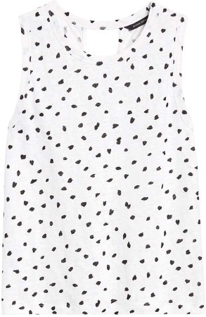 Print Linen Twist-Back Cropped Tank
