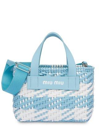 Miu Miu Woven Gingham Check Tote Bag - Farfetch
