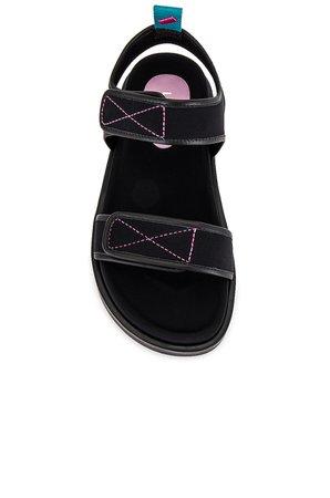 Larroude Malibu Sandal in Black | REVOLVE