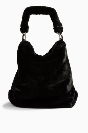FERN Black Faux Fur Hobo Bag | Topshop