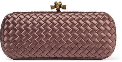 Long Knot Watersnake-trimmed Intrecciato Satin Clutch - Purple