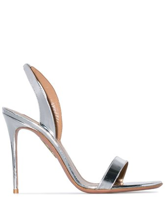 Shop silver Aquazzura 105 So Nude sandals with Express Delivery - Farfetch