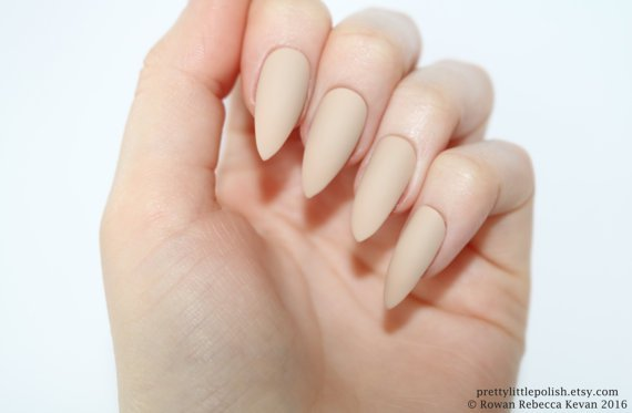 Stiletto nails Matte nude stiletto nails Fake nails Press