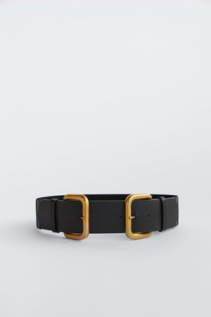 DOUBLE BUCKLE LEATHER BELT | ZARA United States
