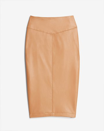 High Waisted Vegan Leather Seamed Pencil Skirt | Express