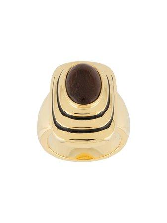 Gold Aurelie Bidermann Java stone ring FW20BA05MG - Farfetch