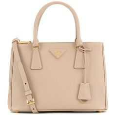 Prada Galleria Saffiano Small Leather Shoulder Bag (135.435 RUB) ❤ liked on Polyvore featuring bags, handbags, shoulder bags, borse, purses, prada, beige, leather handbags, leather hand bags and prada purses