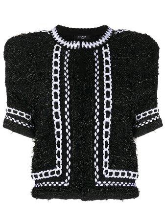 Cropped Tweed Mesh Jacket
