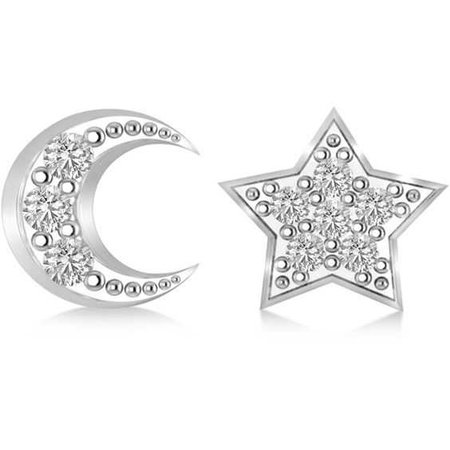 Allurez Moon & Star Diamond Mismatched Earring