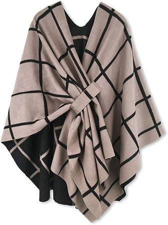 Women Poncho Shawl Cardigan Open Front Elegant Cape at Amazon Women's Clothing store