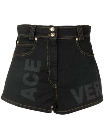 Versace high rise logo print shorts - Black
