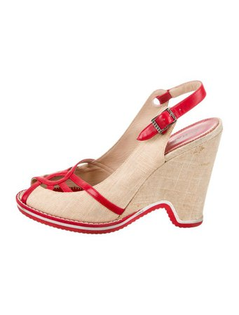 Marc by Marc Jacobs Peep-Toe Slingback Wedges - Shoes - WMA32897 | The RealReal