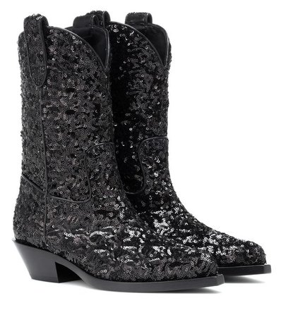 Sequined Cowboy Boots - Dolce & Gabbana | mytheresa.com