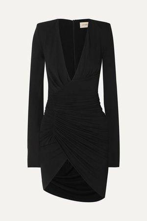 Ruched Draped Stretch-jersey Mini Dress - Black