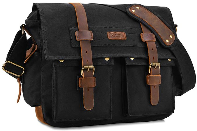 Amazon.com: Kattee Military Messenger Bag Canvas Leather Shoulder Bag Fits 15.6 Inch Laptop: Computers & Accessories