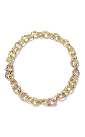 One Of A Kind 18K Yellow Gold Pavé 1885 Link Necklace by Carolina Bucci | Moda Operandi