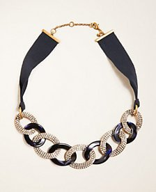 Pave Tortoiseshell Print Link Necklace | Ann Taylor