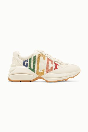 Off-white Rhyton metallic logo-print leather sneakers | Gucci | NET-A-PORTER