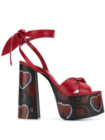 *clipped by @luci-her* Shop red Saint Laurent tie knot platform