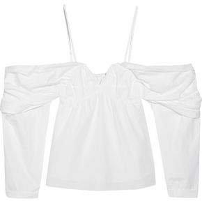 Cold-shoulder Ruched Cotton-poplin Top