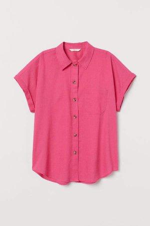 Linen-blend Shirt - Pink