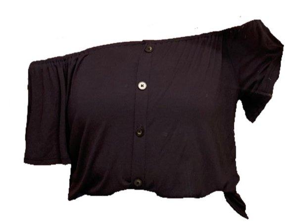 off the shoulder button shirt