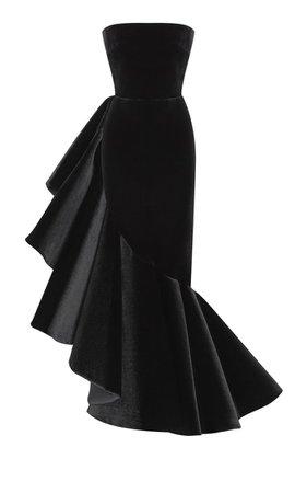 Ruffled Velvet Strapless Gown By Rasario | Moda Operandi