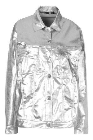 Metallic Oversized Denim Jacket | Boohoo silver