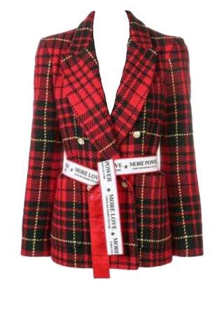 Saint Laurent red and black plaid blazer jacket