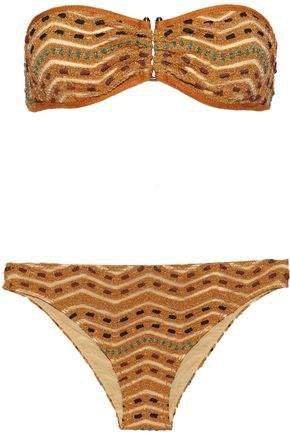 Mare Mare Metallic Crochet-knit Bandeau Bikini